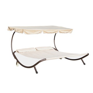 Trademark Innovations Cream Double Hammock with Canopy