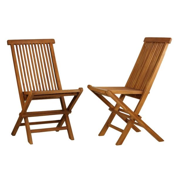 Bare Decor Vega Golden Teak Wood Outdoor Folding Chair (Set Of 2)