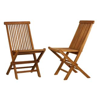 Bare Decor Vega Golden Teak Wood Outdoor Folding Chair  Set of 2. Teak Patio Furniture   Outdoor Seating   Dining For Less