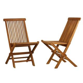 Charming Bare Decor Vega Golden Teak Wood Outdoor Folding Chair (Set Of 2)