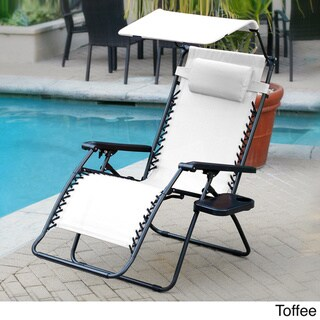 Oversized Zero Gravity Olefin Sunshade Chair with Drink Tray