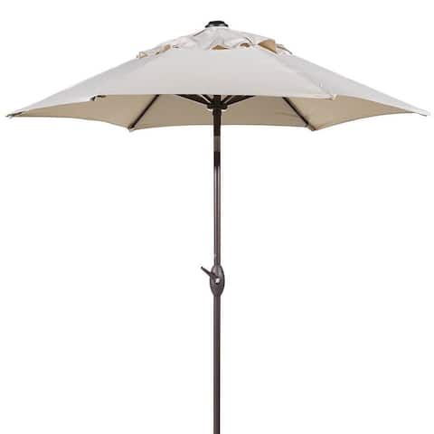 Havenside Home Aillik 7.5-foot Round Outdoor Push Button Tilt and Crank Patio Umbrella