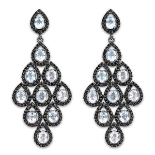 Olivia Leone 12.90 Carat Genuine Blue Topaz and Black Spinel .925 Sterling Silver Earrings