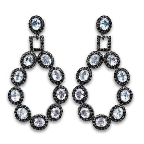 Olivia Leone 12.15 Carat Genuine Blue Topaz and Black Spinel .925 Sterling Silver Earrings