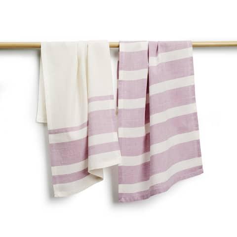 Handmade Sustainable Threads Elsie Cotton Purple Stripe 2-piece Tea Towel Set (India)