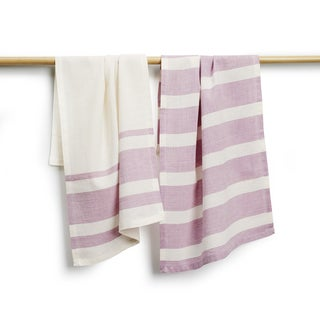 Handmade Sustainable Threads Elsie Cotton Purple Stripe 2-piece Tea Towel Set (India)
