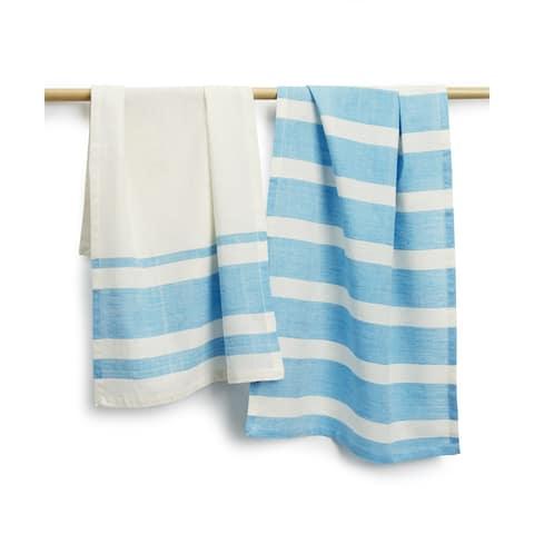 Handmade Sustainable Threads Bellaire Cotton 2-piece Tea Towel Set (India)