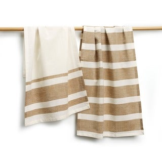 Sustainable Threads Berkley Cotton Grey Stripe 2-piece Tea Towel Set (India)