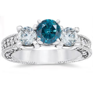14k White Gold 2ct TDW Vintage Blue Diamond Engagement 3-Stone Ring