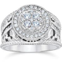 10k White Gold 1ct TDW Halo Diamond Pave Engagement Ring