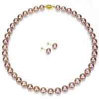 DaVonna 14k Gold 8-9mm Pink Freshwater Pearl Necklace and Earring Set 18-inch - Purple