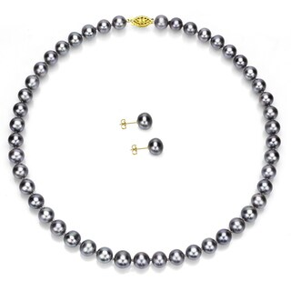 DaVonna 14k Gold 18-inch Grey Freshwater Pearl Necklace and Earring Set (8-9 mm)