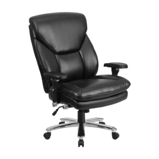 Offex HERCULES Series Big And Tall Black Leather Executive Swivel Chair With Lumbar Support Knob [GO