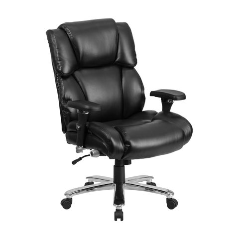 Offex HERCULES Series Big And Tall Black Leather Executive Swivel Chair with Lumbar Support Knob