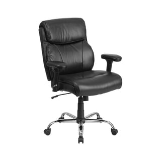 Offex HERCULES Series 400 lb Capacity Big And Tall Black Leather Swivel Task Chair With Height Adjus