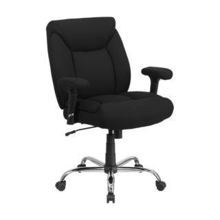 Offex HERCULES Series 400 lb Capacity Big And Tall Black Fabric Swivel Task Chair With Height Adjust