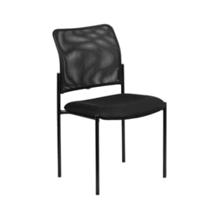 Offex Black Mesh Upholstered Comfortable Stackable Steel Side Chair [GO-515-2-GG]