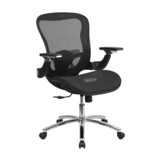 Offex Mid-Back Black Mesh Executive Swivel Office Chair With Synchro-Tilt And Height Adjustable Flip
