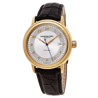 Raymond Weil Men's 12837-G-05658 'Maestro' Silver Dial Brown Leather Strap 18k Gold Swiss Automatic Watch