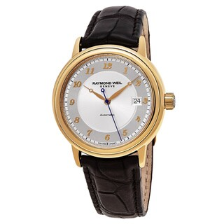 Raymond Weil Men's 12837-G-05658 'Maestro' Silver Dial Brown Leather Strap 18k Gold Swiss Automatic