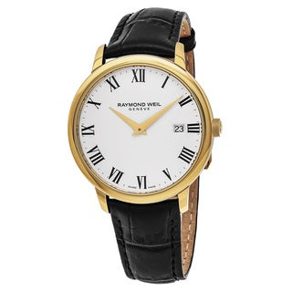 Raymond Weil Men's 5488-PC-00300 'Toccata' White Dial Black Leather Strap Goldtone Swiss Quartz Watch