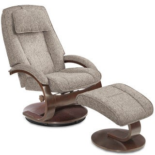 Oslo Collection Teatro Graphite Fabric Swivel Recliner With Ottoman