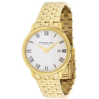 Raymond Weil Men's 5488-P-00300 'Toccata' White Dial Goldtone Stainless Steel Swiss Quartz Watch https://ak1.ostkcdn.com/images/products/11684947/P18611156.jpg?impolicy=medium