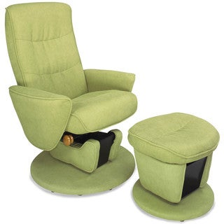 Leaf Fabric Swivel Glide Recliner with Ottoman