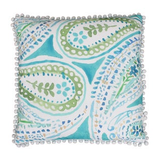 Thro by Marlo Lorenz Katerina Pom Pom Paisley Feather Filled Throw Pillow