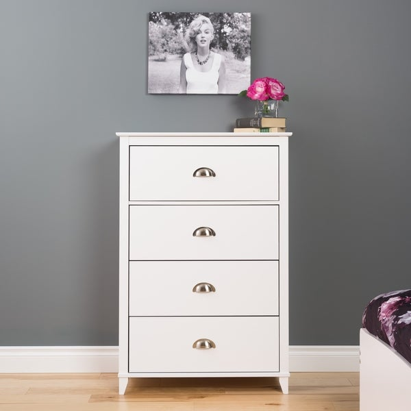 shop 4 drawer dresser in white free shipping today 11684989. Black Bedroom Furniture Sets. Home Design Ideas
