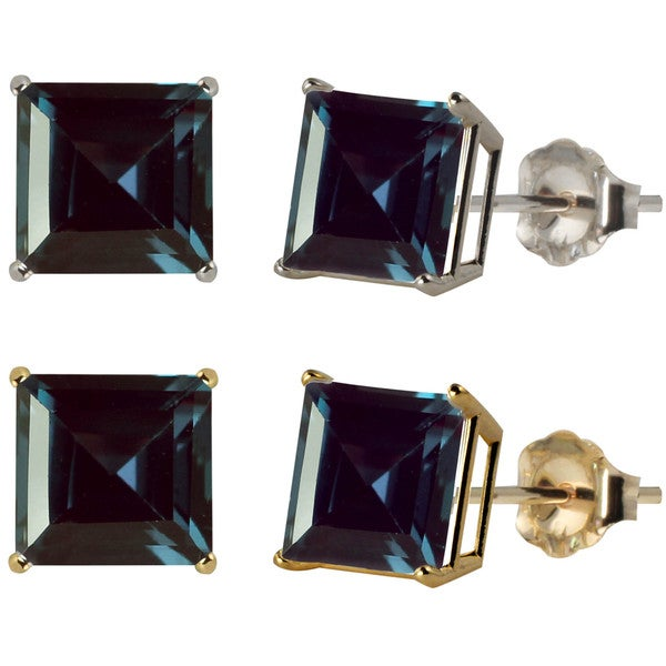 earrings created square in stud alexandrite white gold