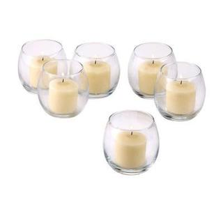 Clear Glass Hurricane Votive Candle Holders with Ivory Votive Candles with 10-hour Burn (Set of 36)