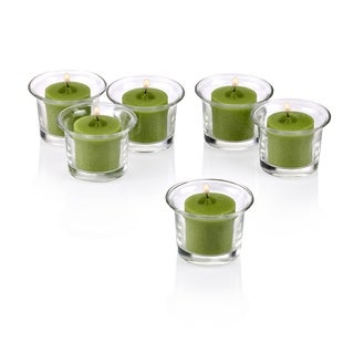 Clear Glass Lip Votive Candle Holders With Lime Green votive candles Set of 36