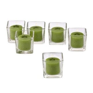 Clear Glass Square Votive Candle Holders with Lime Green Votive Candles with 10-hour Burn (Set Of 36)