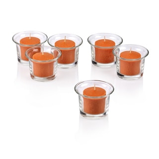 Clear Glass Lip Votive Candle Holders with Orange Votive Candles with With 10-hour Burn (Set of 12)