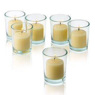Round Clear Glass Votive Candle Holders with Ivory Votive Candles Burn 10 Hours (Set of 12)
