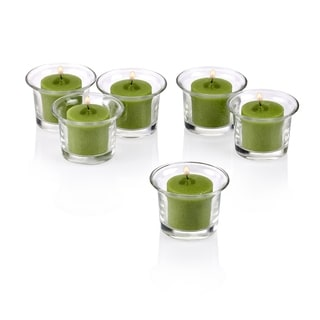 Clear Glass Lip Votive Candle Holders with Lime Green Votive Candles with 10-hour Burn (Set of 12)