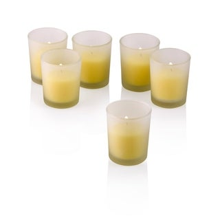 White Frosted Glass Round Votive Candle Holders with Citronella Yellow Votive Candles (Set of 72)