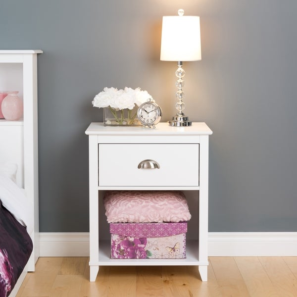 1 Drawer Accent Table in White