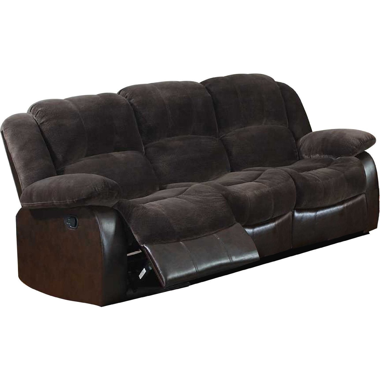 Polyurethane Sofa with 2 Reclining Seats in Dark Brown (C...