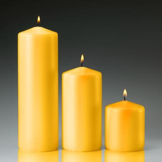 Yellow Citronella Scented Pillar Candles (set of 3)