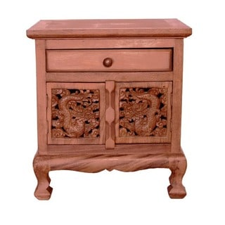 EXP Handmade Oriental Dragon 1-drawer Nightstand