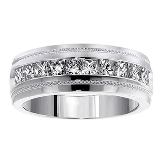 platinum mens wedding bands groom wedding rings for less overstockcom - Men Diamond Wedding Ring