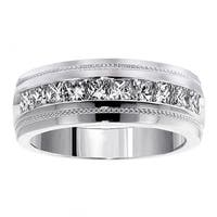 Platinum Men's 1ct TDW Diamond Princess-cut Ring