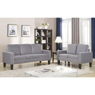 Microfiber Three Cushion Couch in Grey