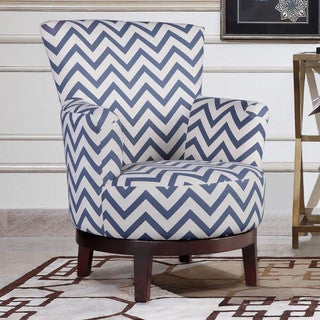 Swivel Accent Chair with Blue and White Chevron Pattern