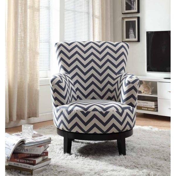 Phenomenal Shop Swivel Accent Chair With Blue And White Chevron Pattern Ocoug Best Dining Table And Chair Ideas Images Ocougorg