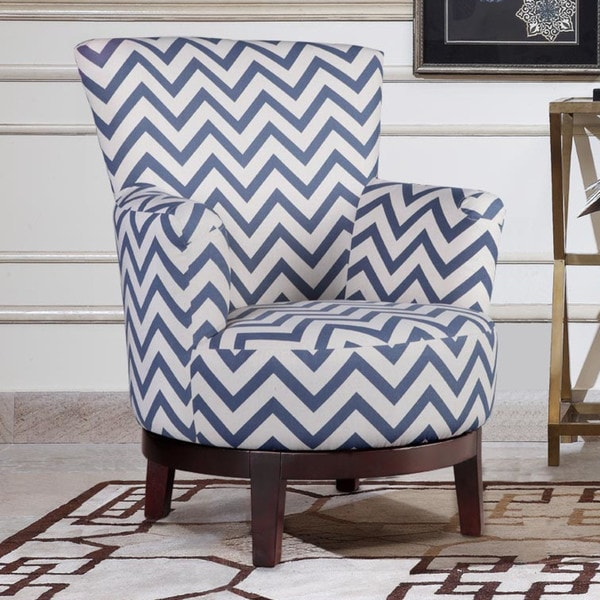 Shop Swivel Accent Chair With Blue And White Chevron