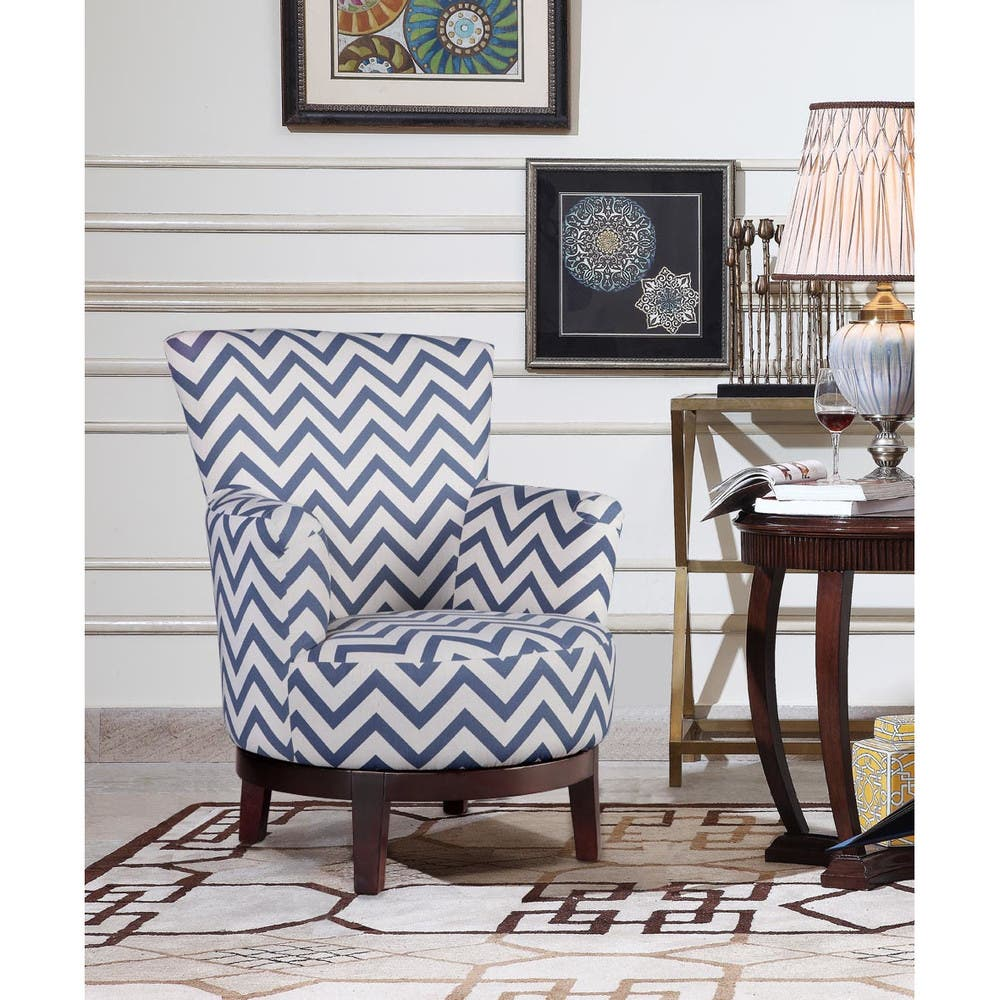 Pleasant Shop Swivel Accent Chair With Blue And White Chevron Pattern Ocoug Best Dining Table And Chair Ideas Images Ocougorg