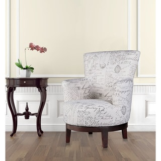 swivel accent chair with calligraphy pattern